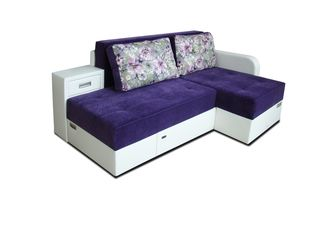 Canapea de colt IM Narcis 2 White/Purple. Posibil în credit!!