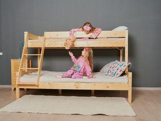 Pat etajat din lemn natural - Mira!