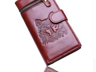 Компактный и вместительный новый кошелек с логотипом волка - 299 лей, торг  волчья голова для мужчин