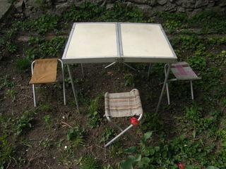 Стол складной и 4 стульчика, стол для телевизора, шезлонг складной.