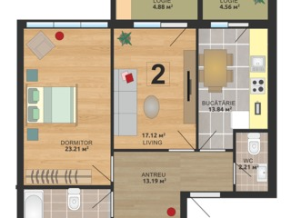 Apartament cu 2 odăi-rîșcanovca! 525 euro/m2 !