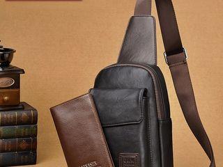 Отличный подарок для любимого -Наплечная сумка с кошельком