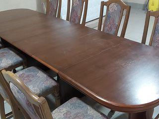 Masă de lemn natural 2.90m. + 8 scaune.
