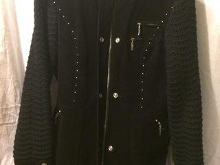 Куртка утепленная, чёрная , с вязанным воротом и рукавом, 100%хлопок , фирмы:lafei -nier.(турция)