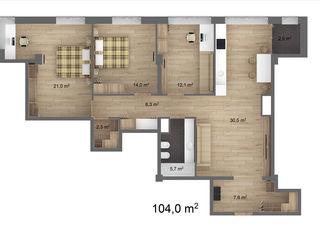 URGENT !!!       3 dormitoare + living cu bucatarie - Premium Tower