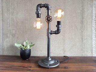 Настольная лампа - новая из труб и фитингов.