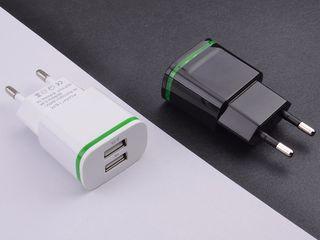 USB Зарядное устройство 5 В 2A +кабель USB - 120 лей белого и черного цвета с подсветкой. Только зар