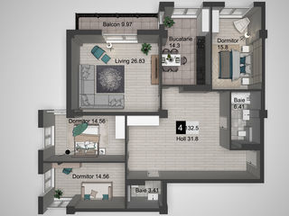 Apartament cu 3 odai, casa de elita, cu priveliste la parcul Dendrariu