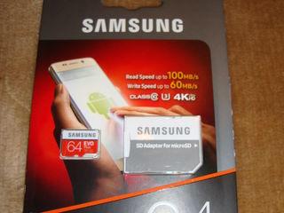 Micro SDXC Samsung EVO Plus 64 Gb, original, pt Europa, produs in Phillipines, NOU, sigilat.