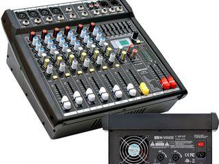 Vind set doua boxe mixer activ m-voce+microfon+cabluri