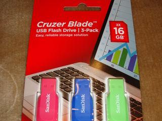 USB flash Sandisk Kruser Blade 3 buc.x16 GB, NOU sigilat.