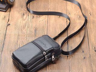 Мужская легкая - небольшая сумка из натуральной кожи - 350 лей