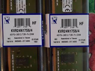 Продам Kingston ddr4 4gbx2 2400mhz