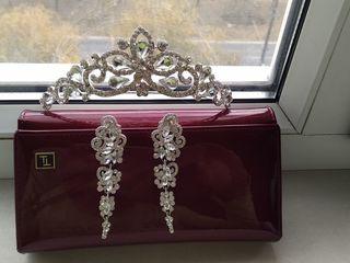 Coroniță și cercei pentru mireasă, diadema, coroana, nunta,