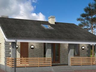 Одноэтажный дом с террасой и чердаком