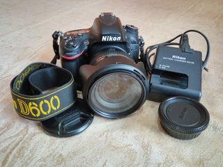Nikon D600+Nikon AF-S Nikkor 24-85mm 1:3.5-4.5G ED VR kin in stare foarte buna.Pretul 550 euro.