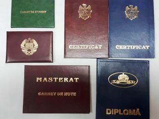 Caiete de bord, carnete de identitate ale studentului, certificate, permise, diplome, certificate.