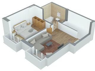 Apartament cu doua nivele, 2 camere 64.8m2 Durlesti la pret promotional de 490 euro/m2