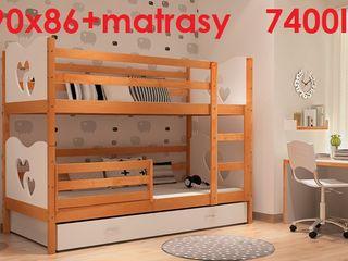 Кроватка детская из дерева 2-местная patuc pentru 2 copii