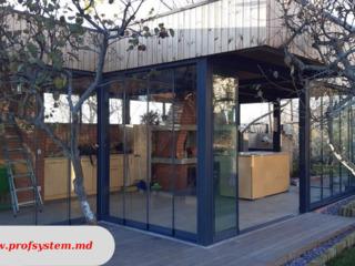 Sistem glisant din sticla pentru balcoane, terase, separari oficii/camere