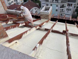 Izolare acoperiș plan/în pante cu spumă poliuretanică și poliurea (termoizolare și hidroizolare)