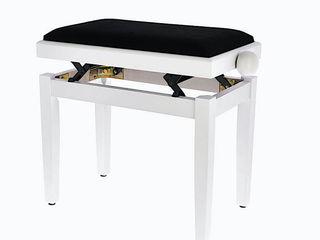 Scaun pentru pian, reglabil, culoare alba