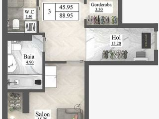 Newton House Buiucani 2 camere + Bucătărie cu Living rate 5 ani