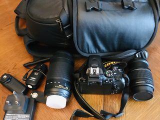 Digital camera D5600 и + объектив для фотопарата+ рюкзак