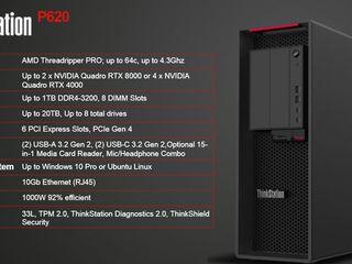 Lenovo ThinkStation P620, Threadripper PRO 3975WX, 128GB RAM, 5TB SSD, RTX 2080Super, Sigilat