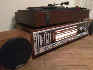 Мелодия 105 стерео Усилитель-радио+Проигрыватель пластинок-кассетный магнитофон+АС(колонки)