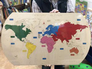 Harta Lumii - Joc puzzle din lemn - o jucărie educativă