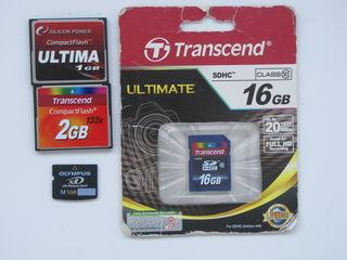 Карты памяти SDHC; xD-Picture Card; CompactFlash