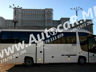 Italia –  Moldova – Italia. Transport de pasageri. Zilnic Tur - Retur.