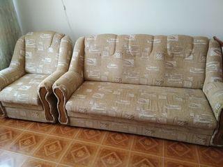 Set canapea și 2 fotolii (culoare bej/cafeniu/galben)