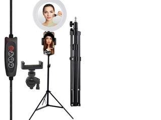 Кольцевая лампа для макияжа с держателя для телефона на 26 см с зеркалом+штатив 2,1м