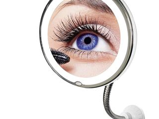 Круглое гибкое зеркало для макияжа с LED подсветкой. Доставка