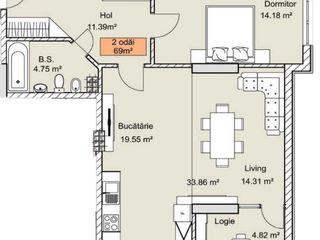Apartament 2 odăi, casă de cărămidă, clasă premium de la dezvoltator