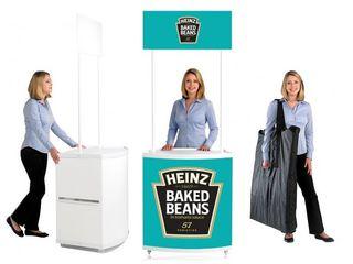 Промостолы и стойки ресепшн для проведения рекламных акций и организации мобильных точек продаж.