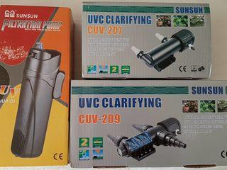 Нагреватели,компрессоры,помпы,внутренние фильтры,сачок,термометр, корма для рыбок аквариумных
