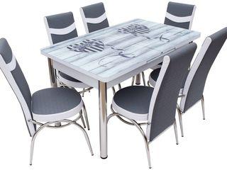 Set mg-plus kelebek twin crom (6 scaune) preț mic,livrare gratis, disponibil în credit!