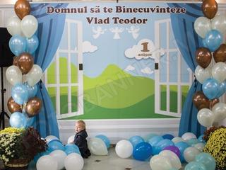 Cadou foto panou (fotostand, foto banner), pentru cumatrie, zi de nastere, botez, baloane