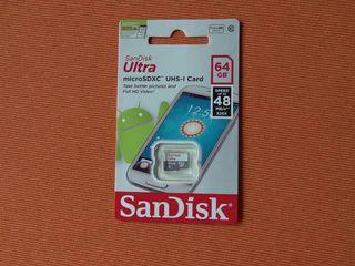 Абсолютно новая micro SD SanDisk ULTRA на 64 Gb. Оригинал SanDisk.На фото она. 380 лей.