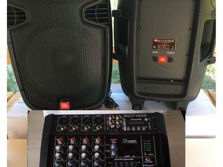 """Aparatura , Boxe, mixer-amplificator ,,M-voice"""""""" , Cabluti, , 1200 W,  tot la 7500 lei     !!"""