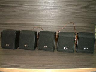 5 акустических колонок LG black с кабелем + 5 деревянных колонок Dialog + Сабвуфер 100 Вт.