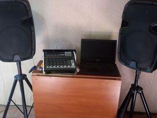 Aparatura  mixer-amplificator activ cu bluetoorh ,usb, boxe ,cabluri , microfon 7200  lei ! germania