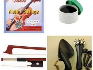 Accesorii vioara - arcus , corzi ,saciz ,podet , cutii ...