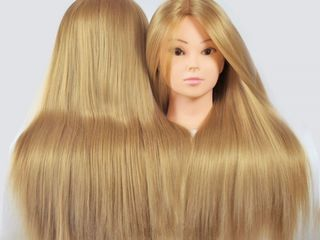 Cap de practica cu par natural 50% blond,saten 60cm/Manechin coafat, tuns, lucrat cu placa, aranjat