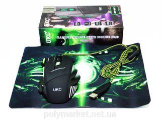 Игровая мышь UKC X - 7 + коврик (USB проводная RGB подсветка