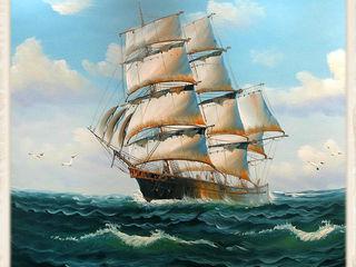 Ocean Ship Original hand made oil painting on canvas framed