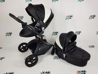 Популярная и красивая коляска Hot Mom 2в1 черный с белой вставкой еко кожа аналог mima xari